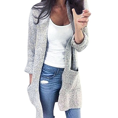 LAEMILIA Cardigan Femme Automne Hiver à Manches Longues Casual en Tricot Deux Poches Sweater Vester Top Manteau