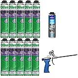10 Mousses expansives polyuréthane 750 ml pour Pistolet + 1 Pistolet + 1 Nettoyant -...