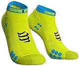 Compressport Uomo V3Sock Low Flou Corsa calzino Profondo, Uomo, V3 Sock Low Flou, Giallo Fluo, M