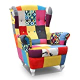 mb-moebel Ohrensessel Fernsehsessel Wohnzimmer-Sessel Relax-Sessel Loungesessel Armsessel Patchwork