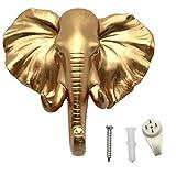 Evilandat Elefant Hochwertig Tier Harz Kleiderhaken Wandhaken Handtuchhaken Wand Tür Ordnen Aufbewahrung Handtuch Kleidung Gold