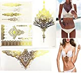 Glitter Gold Metallic Tattoos (2 Large 2 Small) & Gold Body Chain Necklace Kit Sternum Tattoos for Women Bikini Dress Up Boho on Summer Beach - Bachelorette Party Supplies Ideas Accessories Favors.