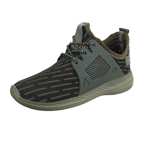 Slipper Damenschuhe Herrenschuhe Leichte Unisex Sneakers Ital-Design Halbschuhe Khaki
