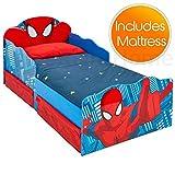 Spiderman Lit de bébé de avec Le Stockage et Les Yeux Lumineux + Matelas de Mousse de...