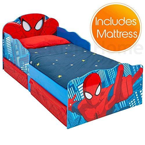Spiderman Lit de bébé de avec Le Stockage et Les Yeux Lumineux + Matelas de Mousse de