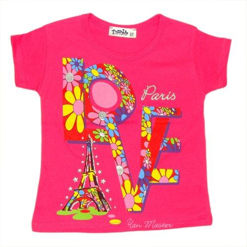 T-Shirt Fille 'I Love Paris' - Rose (2-4 Ans)