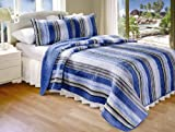 Best Nautica Quilts - Greenland Home Brisbane Quilt set, Cotone, Blue, Queen Review