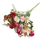 Künstliche Blumen, 1Bouquet Fake Künstliche Kunststoff Simulation Rose Flower Plant Home Office Shop Dekoration Hochzeit Blumensträuße, Rot, Einheitsgröße
