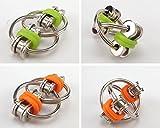 zcsmg Fuuny Voltear cadena dedos Fidget juguete llavero cadena de bicicleta llavero de metal juguetes, metal, Naranja, 5.5x3cm