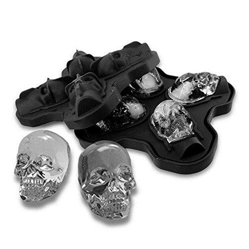 likon Ice Form Tabletts für Jelly Candy Schokolade Form 3D Skull Ice Form Lebensmittelqualität Flexible Silikon Tablett Halloween Geschenk ()
