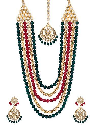 Shining Diva Fancy Wedding Party Wear Multi-Colour Kundan Traditional Jewellery Necklace Set with Maang Tikka & Earrings for Women & Girls