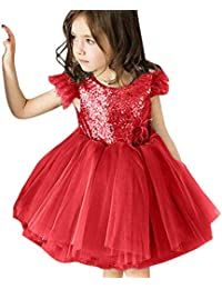 PinkLu Vestido Niña Chica Sin Mangas Color sólido Lentejuelas Pluma Espalda Abierta Falda Tutu Vestido Vestido de Fiesta(Gris, Rosa,…