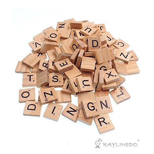 RayLineDo 100 stücke Holz Scrabble Fliesen Buchstaben Alphabet Scrabbles Anzahl Handwerk Englisch Wörter großbuchstaben gemischt