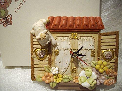Orologio finestra formella gatto scatola con raso bomboniera battesimo comunione