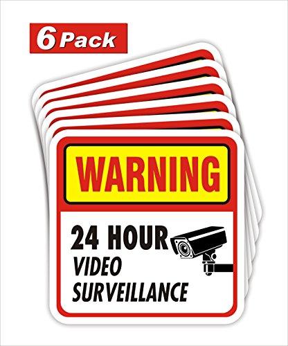 jancosta 24Stunde Video Surveillance Sticker Decals, Sicherheit Warnung Zeichen für Business und Home 6 large (Zeichen Sticker Sicherheit)