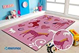 Merinos | Kinderteppich | Diamond | Kids Pferdemotiv | Rechteckig | PP Frisee | Pink | Größe 160cm x 230cm
