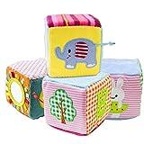 TOLOLO 4pcs Jouets éducatifs pour bébés pour bébés Hochets velours tissu...