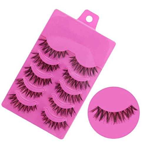 Vovotrade 5 Pairs Fashion Natural Handmade Soft Long False Eyelashes Makeup Z-1