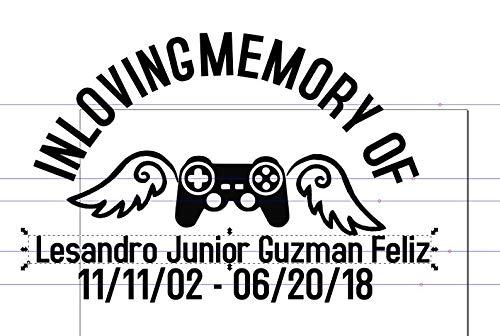 emory Controller Aufkleber Personalisiert - Custom Memorial Sticker für Auto Memory Aufkleber Cowboy Hut Rose Video Game Controller Cross ()