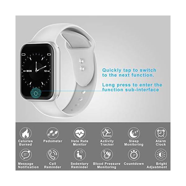 Smartwatch, KUNGIX Reloj Inteligente Impermeable IP68 Pulsera de Actividad Inteligente con Monitor de Sueño Pulsómetros… 4