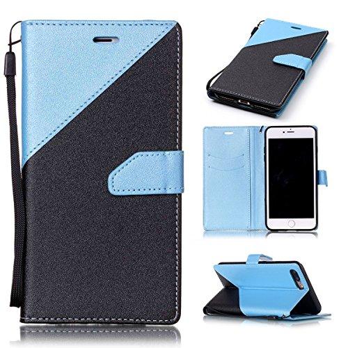 iPhone 7Plus Case, Case First due colori design PU pelle portafoglio Case Cover Flip Cover con Cinturino da Polso e Card Slot per iPhone 7Plus Sky Blue + Schwarz