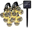 #4: Quace Solar String Lights 4.5m/15ft 20 LED Water-Resistant Lights Festival Decoration Metal Ball Design String Lights for Indoor Outdoor Bedroom Patio Lawn Garden Wedding Party Decorations - Warm White