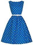 shoperama 50er Jahre Rockabilly-Kleid Zoe Blau/Weiß Vintage 50's Retro Polka Dots Fifties Petticoat, Größe:40