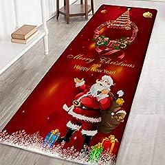 Idea Regalo - Bornbayb Tappeti e tappeti da Bagno Natalizi, tappeti da Bagno Antiscivolo Stampati a Babbo Natale e Alce 3D Home Decor