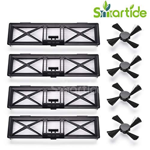Smartide Performance Filter adaptable sur Neato Botvac Série D Accessoires Filtres et brosses latérales (D3, D5, D70, D75, D80, D85) Pièces de rechange pour tous les modèles Neato Botvac 70,75,75E, 85,85E, série BotVac Botvac 65 70e 75 80 85 Y compris 4 brosses latérales et 4 filtres ultra-performants