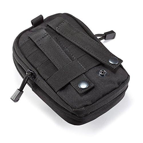Egooz - Marsupio tattico Molle EDC per cintura con porta cellulare, adatto per campeggio, trekking, caccia, sport e attività all'aperto, Black Black