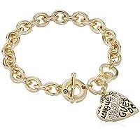 "GUESS""Basic"" Gold Graffiti Logo Heart Toggle Charm Bracelet"