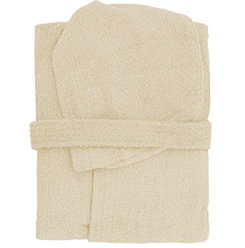 Accappatoio con cappuccio in spugna 100% cotone tinta unita uomo donna unisex mastro bianco (xl, panna)