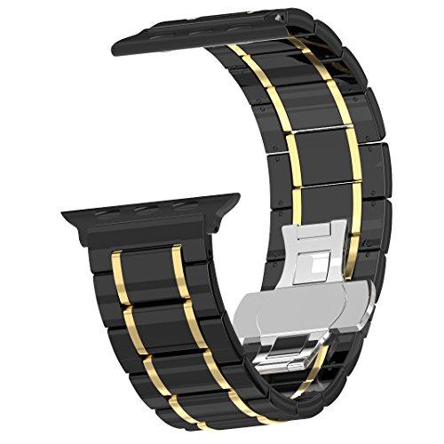 Originality Rose Armband für Apple Watch 42mm Keramik, iWatch Series 3 Series 2 Series 1 Uhrenarmband Smart Watch Armbänder Keramik Band mit Edelstahlschließe für Apple Watch 42mm Schwarz & Gold