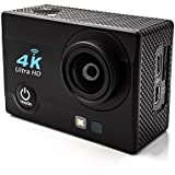 homkm q3h + Basic 4 K Full HD 1080p acción cámara USB 2.0 & mini HDMI, deporte cámara 3.7 V batería 900 mAh recargable Max 30 m impermeable cámara de vídeo Cmera 6 cristal + LED lente 170 ° gran angular, pantalla de 2.0 inches, color negro