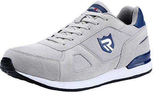 Scarpe Antinfortunistiche da Uomo, Punta in Acciaio Sneakers da Lavoro Leggere ed Eleganti LM-123k (44 EU, Grigio Riflettente)