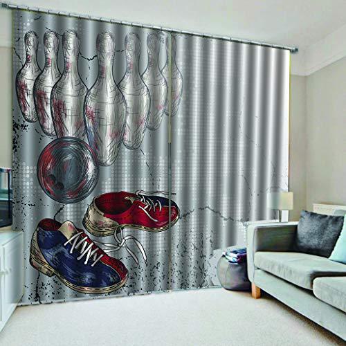 er Schuhe Bowling Muster Druck Wohnzimmer Farbe Schönen Schutz Privatsphäre 2xL135xH225cm ()