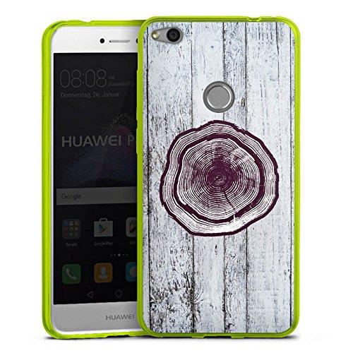 DeinDesign Huawei P8 Lite 2017 Slim Case transparent neon grün Silikon Hülle Schutzhülle Stamm Holz Look Baumstamm