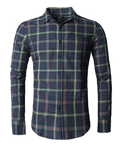 Nutexrol Herren Langarmshirt aus Flanell mit Karomuster - blau - Medium (Pink Plaid-kleid Shirt Für Männer)
