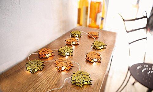 LED Lichterkette'Herbstblätter' Herbstdeko Tischdeko Stimmungslicht Holzdeko Blätter Herbst