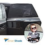 Car Sun Shades For Rear Windows - Bonus Car Seat Protector - Universal Sun Shade For Baby, Kids & Pets In Car's Back Seat - Providing Maximum Protection from Harmful UV Rays, Heat & Sun Glare - 2 Shades