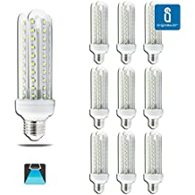 Aigfostar 176075 - Pack de 10 Bombillas LED T3 4U, 15W, casquillo gordo E27, 1200 lumen, luz blanca 6400K