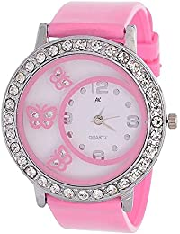 Style Keepers 2018 Round Dial Butterfly Glass Pink Watch For Women