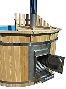 hottub badezuber mit ofen sauna gartensauna badefass neu 180 cm garten. Black Bedroom Furniture Sets. Home Design Ideas