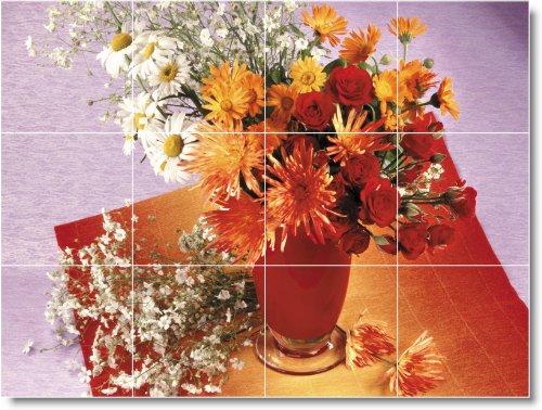 FLORES FOTO MURAL DE AZULEJOS F013  24X 32PULGADAS DE PARED CON (12) 8X 8AZULEJOS DE CERAMICA