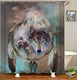 chenyuuu Dream Dream Catcher Wolf Fairy Duschvorhang, Wasserdicht, Schnell Trocknend, Lichtecht, Leicht Zu Reinigen, 12 Haken. 180X180Cm