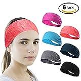 6 Stück Sport Stirnband Schweißband ideal für Yoga