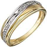 JOBO Damen Ring 333 Gold Gelbgold bicolor matt mattiert mit Zirkonia Goldring Größe 60