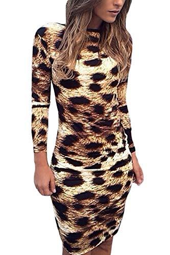 Fasumava Vestidos Midi Ajustados Sin Espalda Elegantes De Invierno con Estampado De Leopardo para Mujer Café S