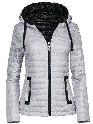 Trisens New Damen Jacke TAILLIERT ÜBERGANGSJACKE Kapuze GESTEPPT S-XXL, Farbe:Grau, Größe:L
