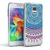 EAZY CASE GmbH Hülle für Samsung Galaxy S5 Mini Schutzhülle Silikon Mandala Design, Slimcover Henna, Handyhülle, TPU Hülle/Soft Case, Silikonhülle, Backcover, indische Sonne, transparent, Blau/Pink